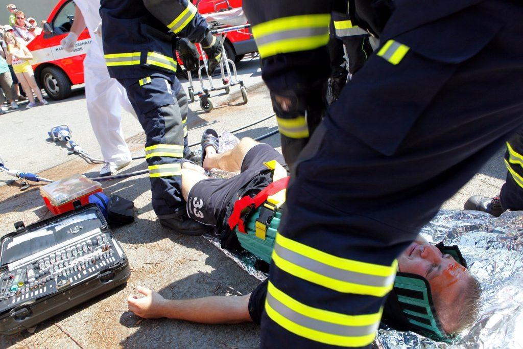 EMT helping patient